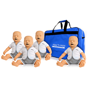 pack of 4 practi-baby manikins with bag